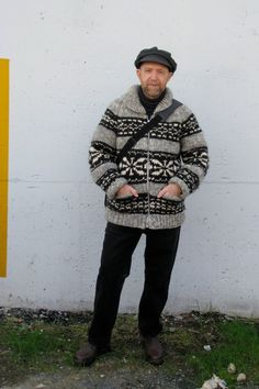 Classic British Columbian Cowichan sweater, with funky artist hat. : )