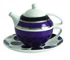 Salt & Pepper Tea for one set 3 Colours Spots-Stripes