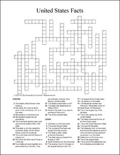 A free printable crossword puzzle (with a solutions page) featuring facts about some of the states in the United States. This is perfect for upper elementary and middle school students.