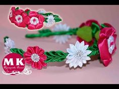Мастер-класс Канзаши.Цветы из атласных лент.Ободок для волос/Bezel on the head. Flower Kanzashi. - YouTube