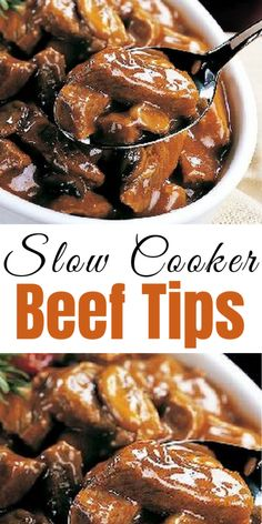Slow Cooker Beef Tips - LOVE this recipe! I grew up eating a stove-top version of beef tips, so when I found this Slow Cooker Beef Tips recipe a few years ago I was thrilled. It's MUCH easier and I think tastes even better. Cubed Beef Recipes, Beef Tip Recipes, Stew Meat Recipes, Cooker Recipes, Ihop Sirloin Tips Recipe, Recipe For Beef Tips, Crockpot Steak Recipes, Cuban Recipes, Yummy Recipes