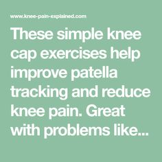 These simple knee cap exercises help improve patella tracking, a common cause of knee pain. Great with anterior knee pain and problems like Chondromalacia Patella & Runners Knee Knee Strengthening Exercises, How To Strengthen Knees, Runners Knee, Knee Cap, Hip Problems, Knee Pain Relief, Thyroid Health, Knee Injury, Sciatica