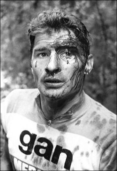 "justcyclingshit: "" Raymond Poulidor after a crash on the decent of the Porte d'Aspet, Stage 13, 1973 Tour de France """