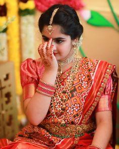 Pink Bridal Lehenga, Bridal Silk Saree, Half Saree Designs, Silk Saree Blouse Designs, Beautiful Girl Indian, Beautiful Indian Actress, India Fashion, Girl Fashion, Half Saree Function