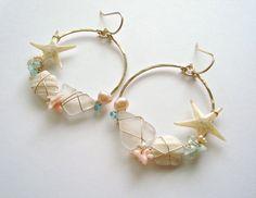 Beachy Shell Hoop Earrings Real Starfish by BellaAnelaJewelry, $48.00