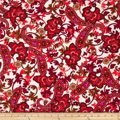 Kanvas Bohemian Rhapsody  Paisley Cream from @fabricdotcom  Designed by Greta Lynn for Kanvas in association with Benartex, this cotton print is perfect for quilting, apparel and home decor accents.  Colors include magenta, fuchsia, red, green, coral, white, and metallic gold.