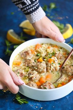 Meatball Noodle Soup - This is just like everyone's favorite cozy, comforting homemade chicken noodle soup except made even better with chicken meatballs! You'll only want this version of chicken noodle soup after trying this! Chicken Meatball Soup, Chicken Meatballs, Soup Recipes, Cooking Recipes, Healthy Recipes, Keto Recipes, Albondigas, Soup And Salad, Clean Eating Snacks