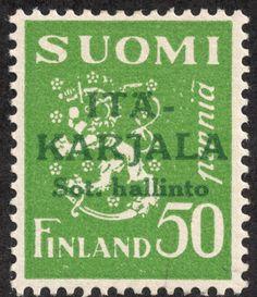 East Karelia 1941 green overprint on 50p bright yellow green  p:14 [Facit 8, Scott N8, Mi:FI-EK 8]