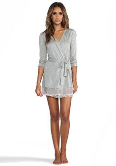 ONLY HEARTS Venice Short Robe with Lace Hem in Heather Grey - Only Hearts