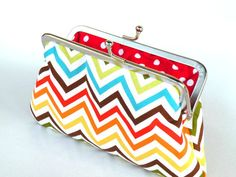 Colorful chevron clutch pursezig zag by craftsbynesli on Etsy, $24.00