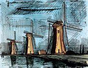 "Bernard Buffet  ""Les trois moulins""  1986"