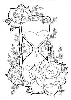 Hourglass Skull Coloring Pages Skull Coloring Pages, Printable Adult Coloring Pages, Coloring Pages To Print, Colouring Pages, Coloring Books, Tattoo Coloring Book, Tumblr Coloring Pages, Kids Colouring, Mandala Coloring