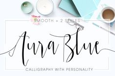 Oh my... i love this font!! Aura Blue, Modern Calligraphy Font by mycandythemes on Creative Market