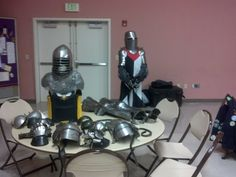 Display for a SCA Demo, The armor on the table and form cover about 3 centuries or so.