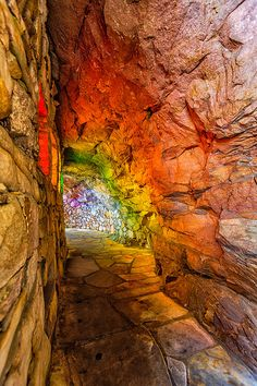 Rainbow Hall      This comes to you from Rock City Gardens atop Lookout Mountain, where you can see into seven states. This passage is called Rainbow Hall where they put differently colored gels into the windows / St. Elmo, Chattanooga, TN, USA