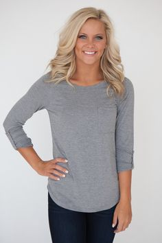 Front Pocket Rolled Sleeve Knit Top - Grey - Magnolia Boutique