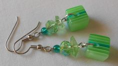 Handmade Earrings green Striped Cube Beads and Green Faceted Crystal Beads #Handmade #DropDangle