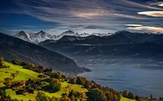 Download wallpapers Lake Thun, Swiss Alps, mountains, Thunersee, Bernese Oberland, Switzerland, Europe