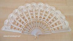 Lace wedding hand fan in ecru by ModernCrochetClub on Etsy