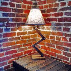 Urban Style Wood Desk Lamp Zig-Zag Table by AWalkThroughTheWoods