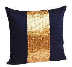 Throw pillows- Navy blue gold color block in art silk with sequin bead detail cushion covers- sequin pillow covers- 20 x 20 Navy blue pillow cover - Gold sequin pillows Amore Beaute http://smile.amazon.com/dp/B00EE7J9MU/ref=cm_sw_r_pi_dp_bbD3vb01JT73T