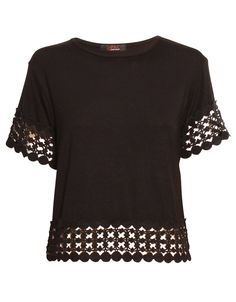 Crochet Panel Crop Tee in Black £ 9.95 http://www.chiarafashion.co.uk/crochet-panel-crop-tee-in-black.html #crochet #panel #shell #top #tee #tshirt #basic #jersey #black #trend