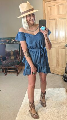 Dolly Denim Dress  https://www.kinleerose.com/collections/new-arrivals/products/dolly-denim-dress  #dolly #denim #chambray #dress #ootd #fedora #turquoise #western #westernwear #westernfashion #fashion #summerstyle #summerfashion #kinleerose