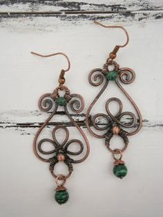 Malachite Earrings - Copper Wire Jewelers