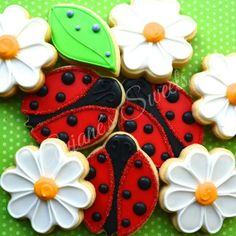 Lady Bugs and Daisy Flower Cookies