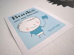 Lámina personaliable para niños Books are my friends http://www.latiendadedibus.es/2014/04/lamina-personalizada-para-ninos-books.html