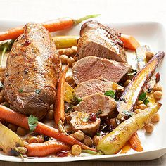 Pan Roasted Pork Tenderloin with Carrots, Chickpeas, and Cranberries From Better Homes and Gardens, ideas and improvement projects for your home and garden plus recipes and entertaining ideas.