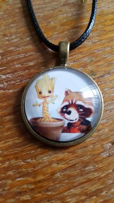 Rocket And Baby Groot Necklace by AwesomeOddities on Etsy