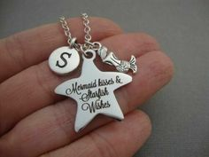 Mermaid Kisses, Initial Charm Necklaces, Mermaid Necklace, Birthday Gifts For Girls, Beach Fashion, Beach Themes, Starfish, Dog Tag Necklace, Initials