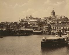 View of Galata from the Golden Horn. The Ottoman Imperial Bank looms above.  Abdullah Freres c. 1880-1893 (LOC)