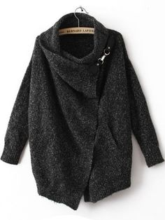 Black Lapel Long Sleeve Ouch Cardigan Sweater pictures