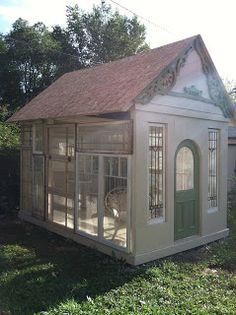 Pollyanna Reinvents: My Garden House Gets Window Walls! Cute garden house with old windows.