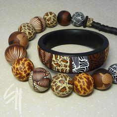 Полимерной глины ювелирные изделия. Африканские вдохновения.