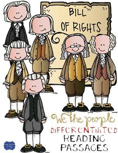 In this resource, there is a nonfiction reading passage based on the Bill of Rights. It discusses the history behind the adoption of the Bill of Rights, along with each of the 10 amendments. It is differentiated for your high, mid, and lower level student 4th Grade Social Studies, Teaching Social Studies, Student Teaching, Guided Reading Levels, Reading Groups, Constitution Day, Bill Of Rights, Readers Workshop, Reading Passages