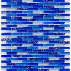 Cobalt Blue Gl Backsplash Irredescent Reflection Rippled Brick Mosaic Tile Ideas For Kitchen Pinterest
