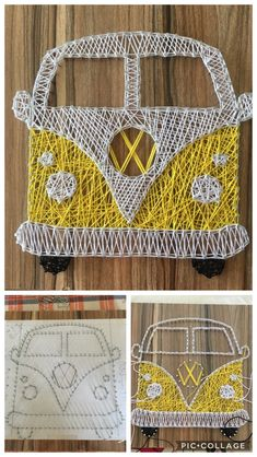 The steps for my little yellow minivan - The steps for my little yellow minivan La mejor imagen sobre diy crafts para tu gusto Estás buscan - String Art Templates, String Art Tutorials, String Art Patterns, Doily Patterns, String Wall Art, Nail String Art, String Art Heart, Mini Vans, Diy And Crafts