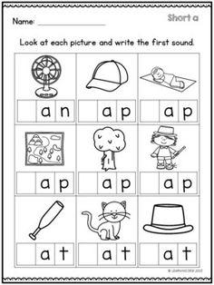 Short A Worksheets - Kindergarten Worksheets - Beginning Sounds Worksheets, English Worksheets For Kindergarten, Preschool Worksheets, Worksheets For Preschoolers, Vowel Worksheets, Short A Worksheets, Letter Worksheets, Printable Worksheets, Free Preschool