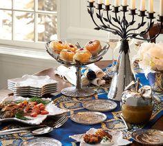 A beautiful Hanukkah table. #potterybarn