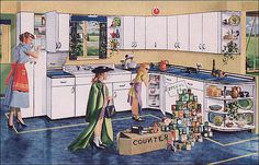 Do kids even get to dress up and play store with the canned goods in the kitchen at home anymore? Yet another of the very cute series of illustrations Youngstown used to brand their line of steel cabinets.  Source: Better Homes & Gardens From the Mid Century Home Style collection.