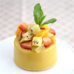 Vegan mango panna cotta with kiwi mango and strawberries yum yum yum!