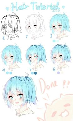 Digital Painting Tutorials, Digital Art Tutorial, Art Tutorials, Drawing Skills, Drawing Techniques, Art Reference Poses, Drawing Reference, Anime Hair Color, How To Draw Hair
