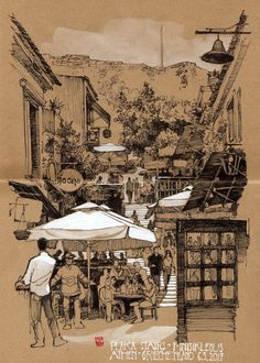 JP Schwarz sketch work -  base of Acropolis in Athens