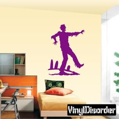"Zombie Walking KC01 Vinyl Decal Car or Wall Sticker Mural  6"" starting @ $2.50"