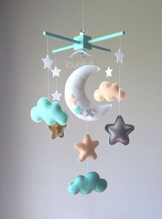 Items similar to Baby Crib Mobile - Baby Mobile - Mint Peach Mobile - Peach Mint Mobile - Peach Mint Gold Nursery - Peach Mint Nursery - Moon Star Mobile on Etsy - Kids Star Mobile, Mint Nursery, Gold Nursery, Gold Kindergarten, Baby Mädchen Mobile, Lila Baby, Baby Car Mirror, Baby Sleepers, Baby Box