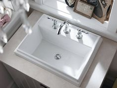 The K-2991-8 rectangular sink offers traditional design details that complement a wide range of faucet styles to create a unique bathroom setting.