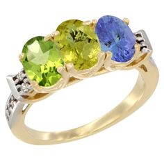 10K Yellow Gold Natural Peridot, Lemon Quartz and Tanzanite Ring 3-Stone Oval 7x5 mm Diamond Accent, sizes 5 - 10 *** Check this awesome image  : Jewelry Ring Bands